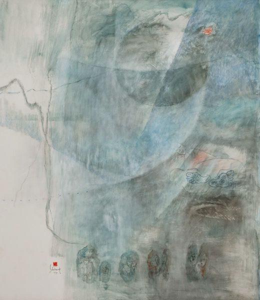 """LEBADANG, """"Paysage bleu"""" (détail 4), 1976, huile sur toile, 220 x 800 cm. Fondation d'Art Lebadang, Huế, Viêt Nam. Droits réservés."""
