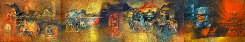 """LEBADANG, """"Quadriptyque Hô Chi Minh"""", 1976, huile sur toile, quadriptyque, 114 x 648 cm. Fondation d'Art Lebadang, Huế, Viêt Nam. Droits réservés."""