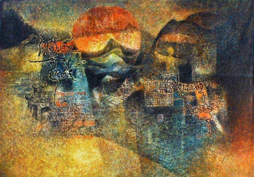 """LEBADANG, """"Quadriptyque Hô Chi Minh"""", 1976, huile sur toile (panneau 3), 114 x 162 cm. Fondation d'Art Lebadang, Huế, Viêt Nam. Droits réservés"""