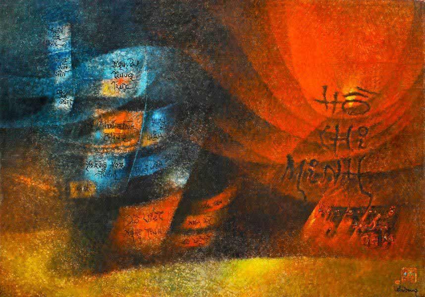 """LEBADANG, """"Quadriptyque Hô Chi Minh"""", 1976, huile sur toile (panneau 4), 114 x 162 cm. Fondation d'Art Lebadang, Huế, Viêt Nam. Droits réservés."""