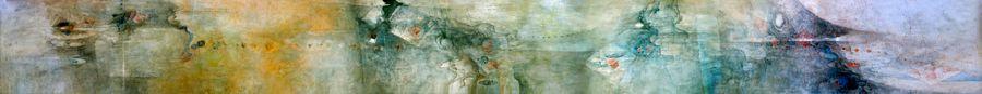 """LEBADANG, """"Paysage"""", 1985, huile sur toile, 100 x 1060 cm. Fondation d'Art Lebadang, Huế, Viêt Nam. Droits réservés."""