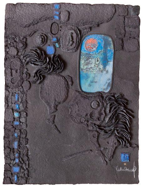 """LEBADANG, """"Espace noir"""", gravure-relief et acrylique sur papier. Myshu Lebadang, Paris, France. © Luc HO."""