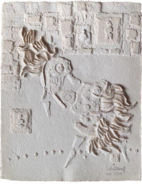 """LEBADANG, """"Espace blanc"""", collage sur papier. Myshu Lebadang, Paris, France. © Luc HO."""