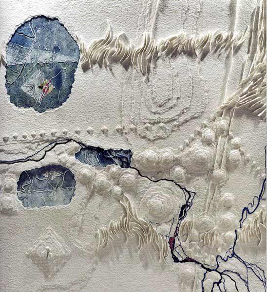 """LEBADANG, """"Espace"""" (détail), gravure-relief, collage et acrylique sur papier. Droits réservés."""
