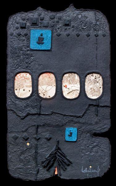 """LEBADANG, """"Espace"""", gravure-relief, collage, acrylique et poinçons or sur papier. Myshu Lebadang, Paris, France. © Luc HO."""