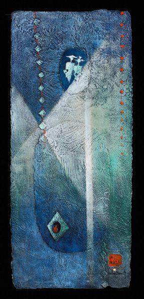 """LEBADANG, """"Espace"""", collage et acrylique sur papier, 102 x 43 cm. Fondation d'Art Lebadang, Huế, Viêt Nam. Droits réservés."""