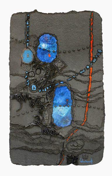 """LEBADANG, """"Espace"""", collage et acrylique sur papier, 125 x 80 cm. Fondation d'Art Lebadang, Huế, Viêt Nam. Droits réservés."""