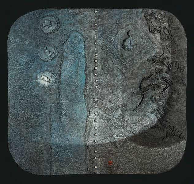 """LEBADANG, """"Espace peint"""", collage et acrylique sur papier, 93 x 100 cm. Fondation d'Art Lebadang, Huế, Viêt Nam. Droits réservés."""
