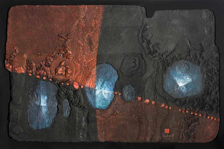 """LEBADANG, """"Espace peint"""", collage et acrylique sur papier, 99 x 159 cm. Fondation d'Art Lebadang, Huế, Viêt Nam. Droits réservés."""