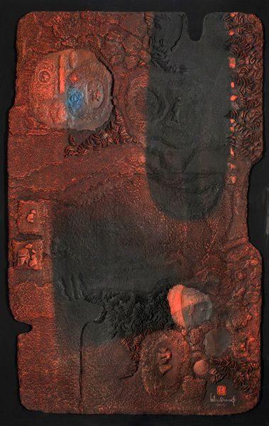 """LEBADANG, """"Espace peint"""", collage et acrylique sur papier, 157 x 101 cm. Fondation d'Art Lebadang, Huế, Viêt Nam. Droits réservés."""