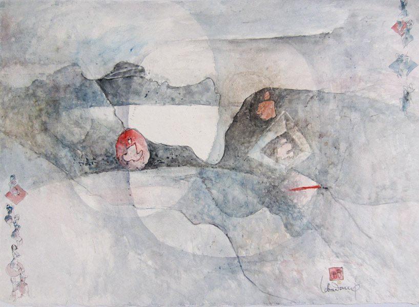 """LEBADANG, """"Paysage féminin"""", 1985, aquarelle sur papier, 56 x 76 cm. Fondation d'Art Lebadang, Huế, Viêt Nam. Droits réservés."""
