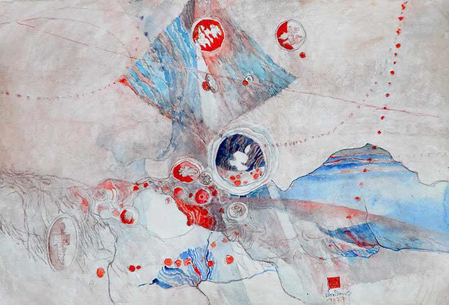 """LEBADANG, """"Paysage féminin"""", 1977, aquarelle sur papier, 56 x 76 cm. Fondation d'Art Lebadang, Huế, Viêt Nam. Droits réservés."""
