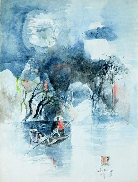 """LEBADANG, """"Pêcheurs"""", 1978, aquarelle sur papier, 76 x 56 cm. Fondation d'Art Lebadang, Huế, Viêt Nam. Droits réservés."""