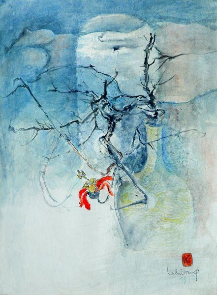 """LEBADANG, """"Vase et branche"""", 1977, aquarelle sur papier, 76 x 56 cm. Fondation d'Art Lebadang, Huế, Viêt Nam. Droits réservés."""