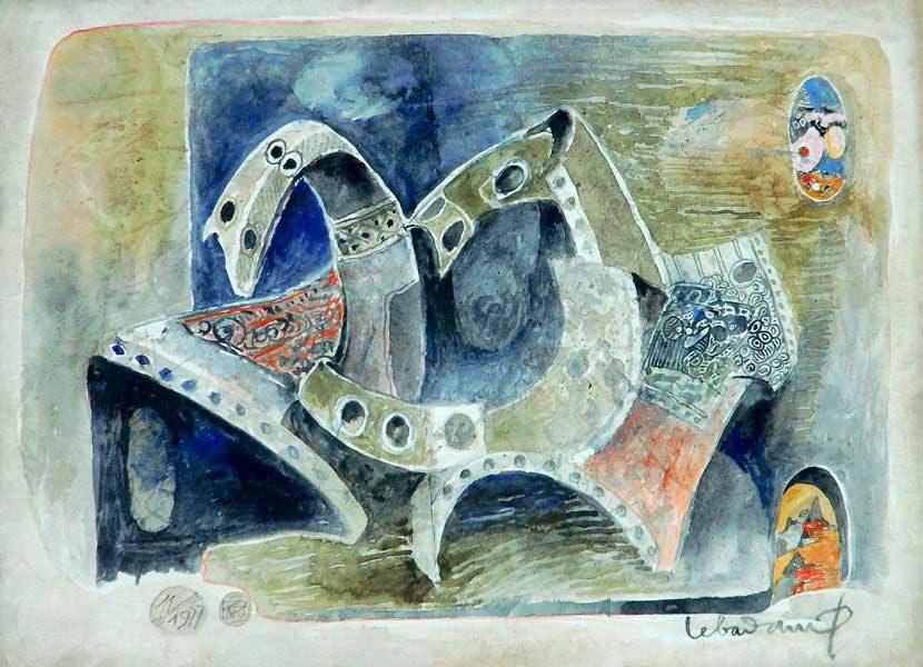 """LEBADANG, """"Cheval"""", 1977, aquarelle sur papier, 56 x 76 cm. Fondation d'Art Lebadang, Huế, Viêt Nam. Droits réservés."""