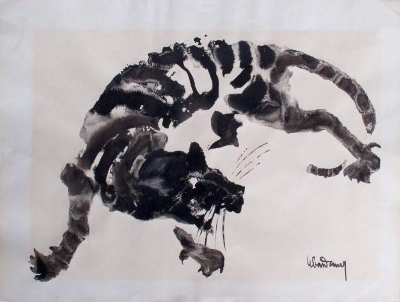 """LEBADANG, """"Tigre"""", encre de Chine sur papier. Myshu Lebadang, Paris, France. © Luc HO."""