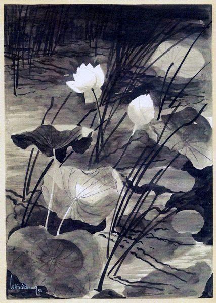 """LEBADANG, """"Parfums de tous temps"""", 1953, encre de Chine sur papier. Myshu Lebadang, Paris, France. © Luc HO."""