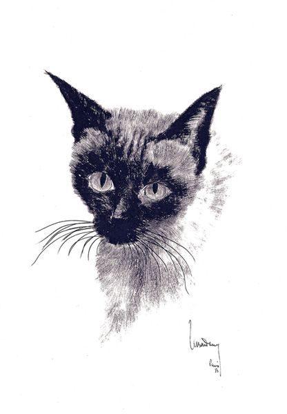 """LEBADANG, """"Chat - Baudelaire"""", 1954, encre de Chine sur papier. Myshu Lebadang, Paris, France. © Luc HO."""
