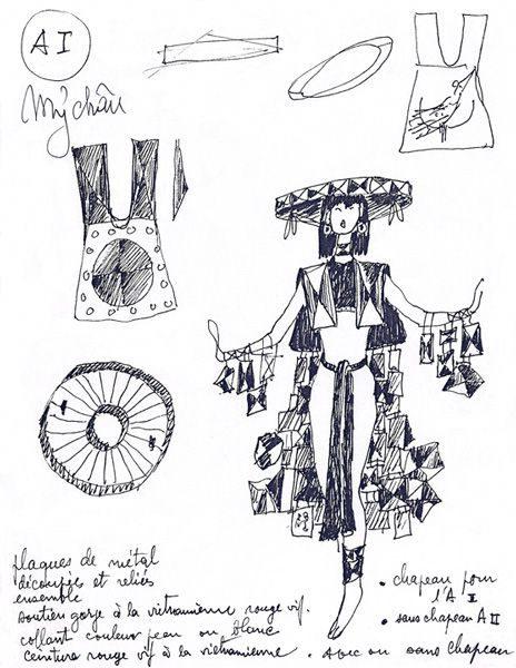 """LEBADANG, """"Costumes de l'opéra Mỵ Châu - Trọng Thủy"""", 1978, encre de Chine sur papier. Myshu Lebadang, Paris, France. © Luc HO."""