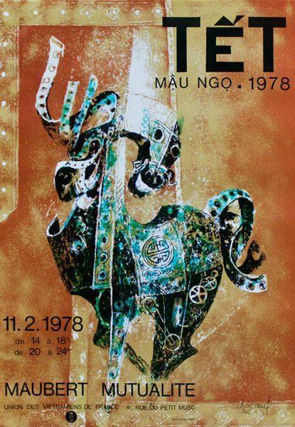 """LEBADANG, """"Cheval-armure - Têt 1978"""", lithographie sur papier. Myshu Lebadang, Paris, France. © Luc HO."""