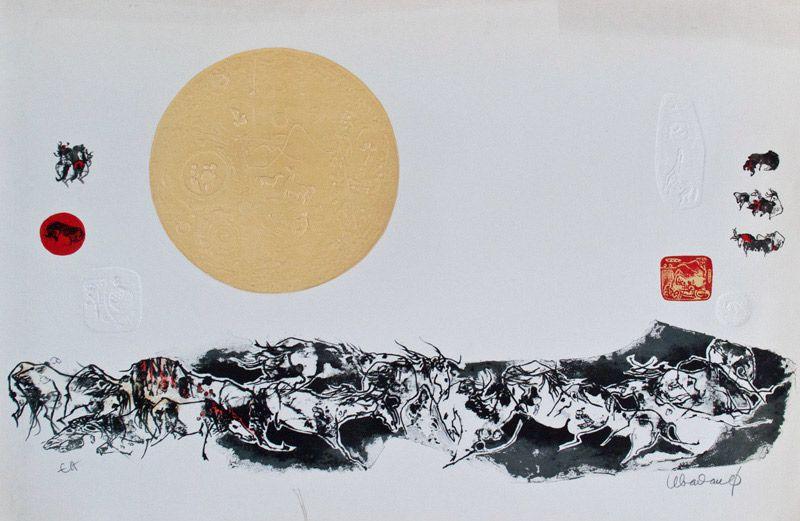 """LEBADANG, """"Paysage et lune"""", lithographie et reliefs sur papier. Droits réservés."""