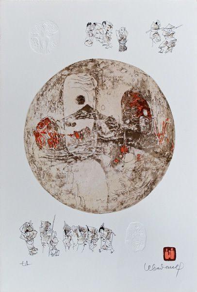 """LEBADANG, """"Comédie humaine"""", lithographie et reliefs sur papier. Droits réservés."""