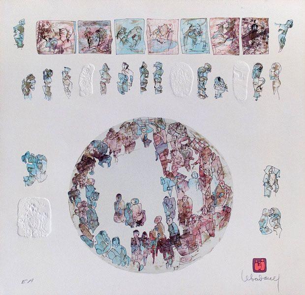 """LEBADANG, """"Comédie humaine"""", lithographie et reliefs sur papier. Myshu Lebadang, Paris, France. © Luc HO."""