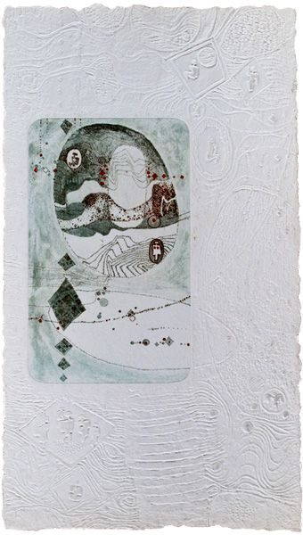 """LEBADANG, """"Paysage"""", eau-forte et reliefs sur papier. Myshu Lebadang, Paris, France. © Luc HO."""
