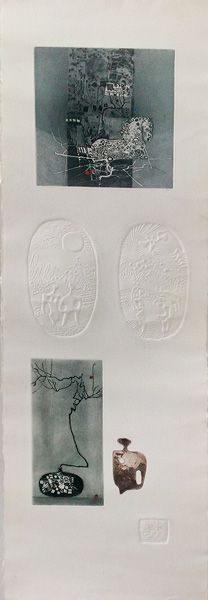 """LEBADANG, """"Cheval, branche et personnages"""", 1970, gravure, reliefs et acrylique sur papier, 80 x 25 cm. Fondation d'Art Lebadang, Huế, Viêt Nam. Droits réservés."""