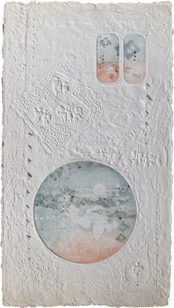 """LEBADANG, """"Paysage et personnages"""", eau-forte et reliefs sur papier. Myshu Lebadang, Paris, France. © Luc HO."""