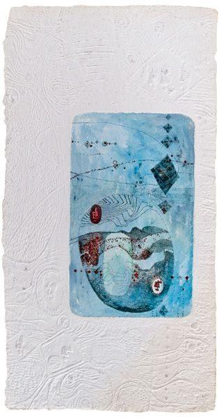 """LEBADANG, """"Paysage bleu"""", eau-forte et reliefs sur papier. Myshu Lebadang, Paris, France. © Luc HO."""