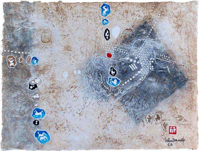 """LEBADANG, """"Cheval"""", gravure, reliefs et acrylique sur papier. Myshu Lebadang, Paris, France. © Luc HO."""