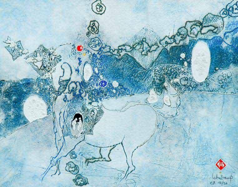"""LEBADANG, """"Cheval bleu"""", gravure, reliefs et acrylique sur papier, 60 x 80 cm. Fondation d'Art Lebadang, Huế, Viêt Nam. Droits réservés."""