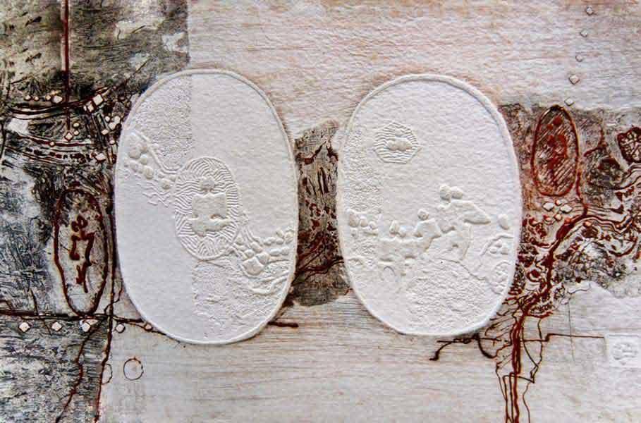 """LEBADANG, """"Paysage et personnages"""", gravure et reliefs sur papier. Droits réservés."""