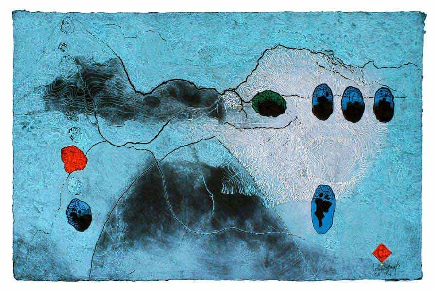 """LEBADANG, """"Paysage bleu"""", 1970, gravure et reliefs sur papier, 68 x 100 cm. Fondation d'Art Lebadang, Huế, Viêt Nam. Droits réservés."""