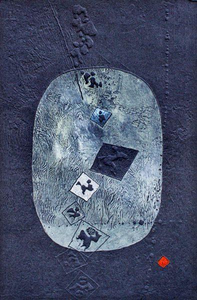 """LEBADANG, """"Paysage et personnages"""", 1980, gravure et reliefs sur papier, 60 x 40 cm. Fondation d'Art Lebadang, Huế, Viêt Nam. Droits réservés."""