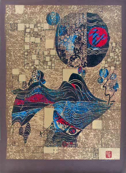 "LEBADANG, ""Lebadangraphy - Paysage"", sérigraphie sur papier, 76 x 56 cm. Myshu Lebadang, Paris, France. © Luc HO."