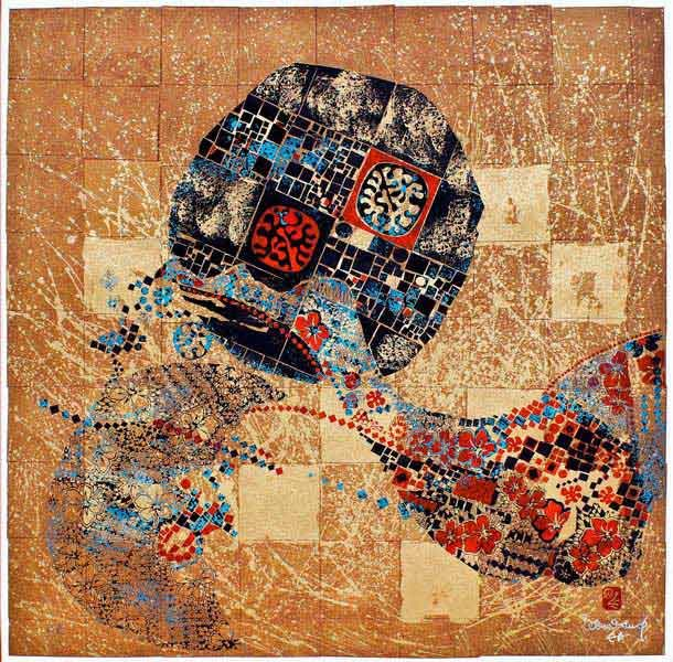 """LEBADANG, """"Lebadangraphy"""", 1970, sérigraphie sur papier, 76 x 56 cm. Fondation d'Art Lebadang, Huế, Viêt Nam. Droits réservés."""
