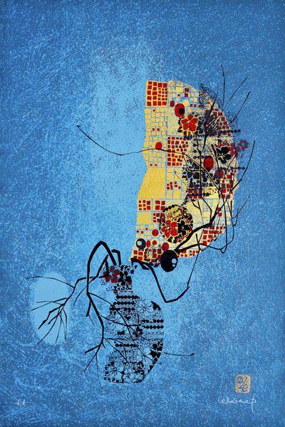 """LEBADANG, """"Lebadangraphy - Vase et branche"""", 1970, sérigraphie sur papier, 117 x 77 cm. Fondation d'Art Lebadang, Huế, Viêt Nam. Droits réservés."""