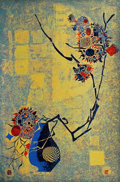 "LEBADANG, ""Lebadangraphy - Vase and Twig"", 1970, silkscreen on paper, 117 x 77 cm. Lebadang Art Foundation, Huế, Viêt Nam. Rights reserved."