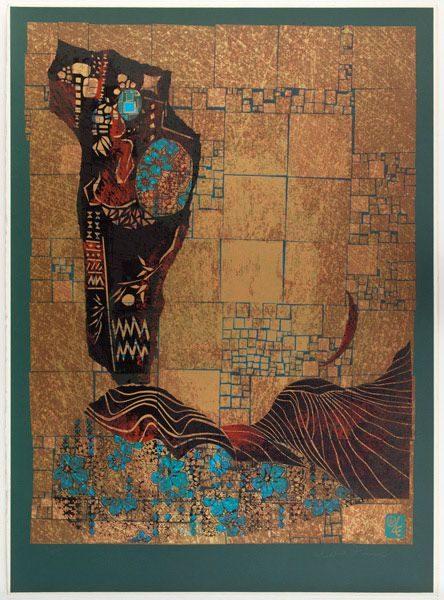 """LEBADANG, """"Le rocher, la mère et l'enfant"""", 1978, M.C. 2015-25, sérigraphie sur papier, 76 x 56 cm. Musée Cernuschi, Paris, France. © Stéphane Piera / Musée Cernuschi / Roger-Viollet."""