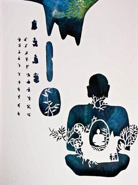 """LEBADANG, """"Bouddha"""", découpe et gravure-relief sur papier. Myshu Lebadang, Paris, France. Droits réservés."""
