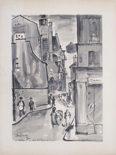 """LEBADANG, """"Eglise Saint-Etienne-du-Mont"""", crayon, lavis et encres sur papier. Myshu Lebadang, Paris, France. © Luc HO."""