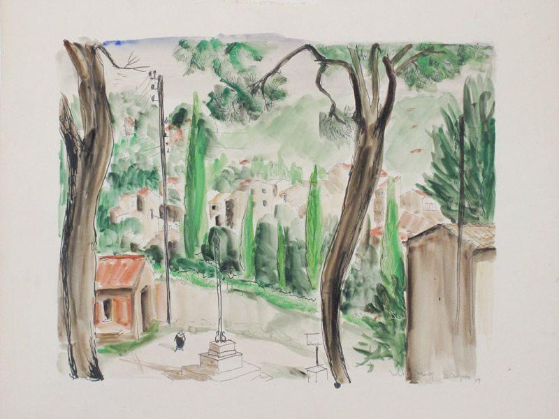 """LEBADANG, """"Cagnes-sur-Mer"""", 1954, crayon et aquarelle sur papier. Myshu Lebadang, Paris, France. © Luc HO."""