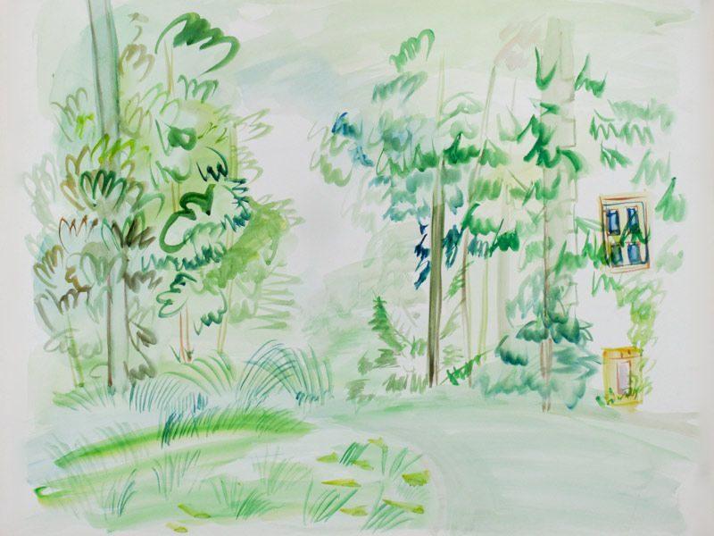 """LEBADANG, """"Paysage"""", crayon et aquarelle sur papier. Myshu Lebadang, Paris, France. © Luc HO."""