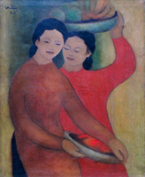 "LEBADANG, ""Personnages"", 1951, huile sur toile. Myshu Lebadang, Paris, France. © Luc HO."