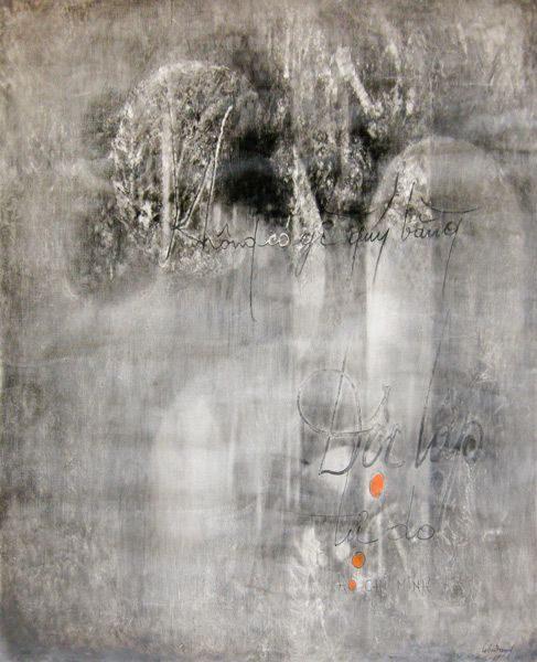 """LEBADANG, """"Calligraphie - Hô Chi Minh"""", 1969, huile sur toile, 81 x 60 cm. Fondation d'Art Lebadang, Huế, Viêt Nam. Droits réservés."""