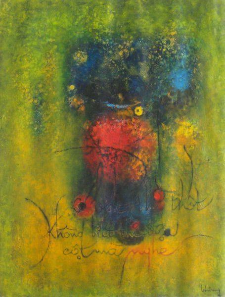 """LEBADANG, """"Calligraphie"""", 1964, huile sur toile, 89 x 116 cm. Fondation d'Art Lebadang, Huế, Viêt Nam. Droits réservés."""