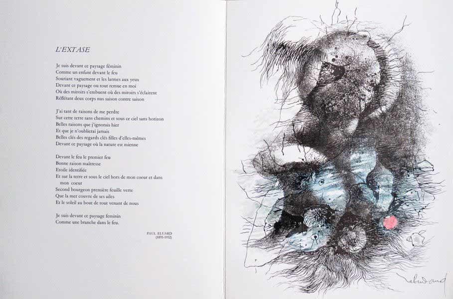 "LEBADANG, ""Extase"", Paul Eluard, 1972, Friun Editeur. Myshu Lebadang, Paris, France. © Luc HO."