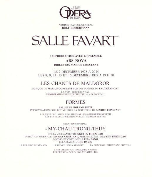 """LEBADANG, Opéra """"Mỵ Châu – Trọng Thủy"""", 1978. Myshu Lebadang, Paris, France. Droits réservés."""